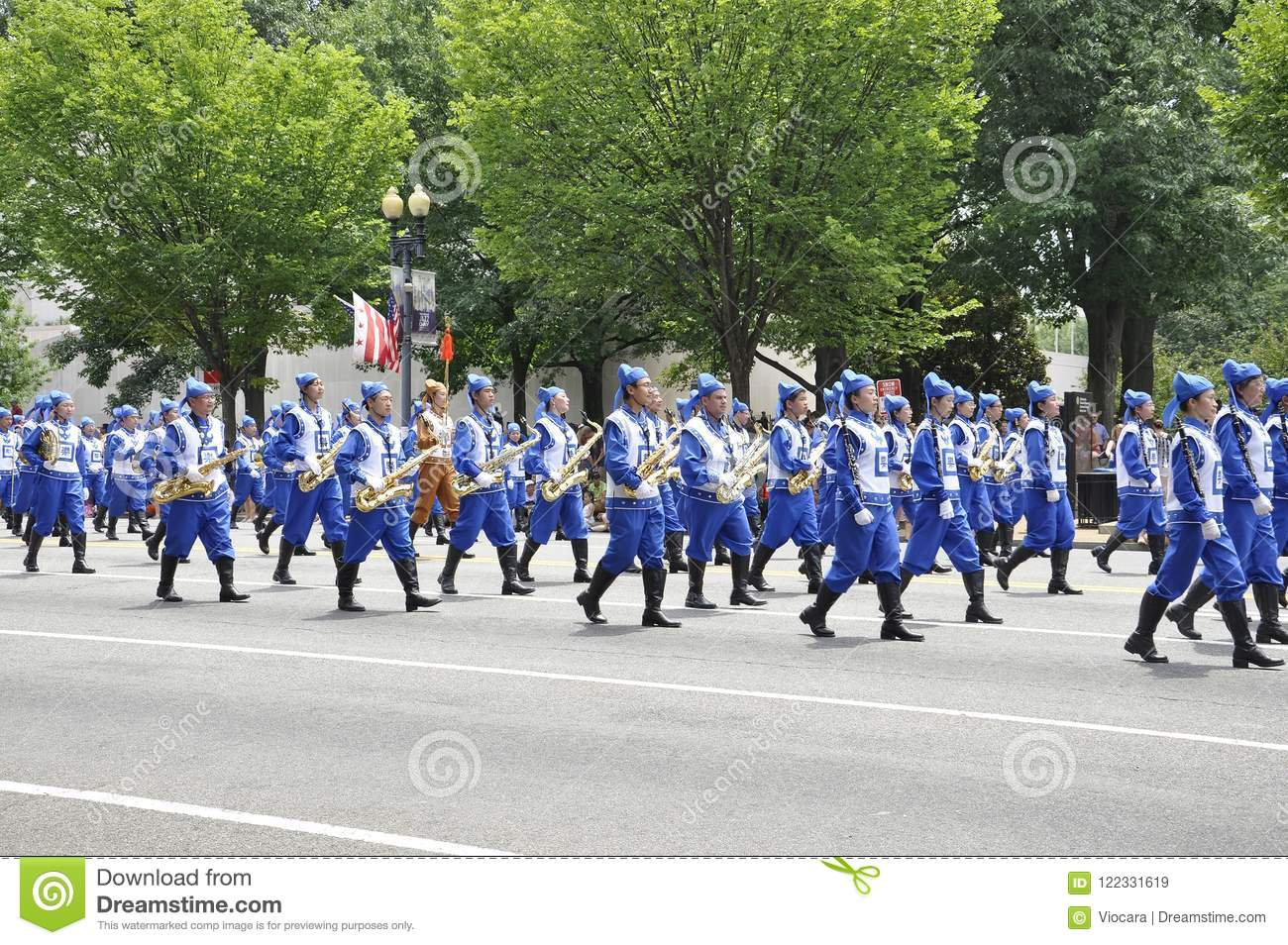 Washington DC, July 4th 2017: School team at The Parade for the 4th July from Washington District of Columbia USA
