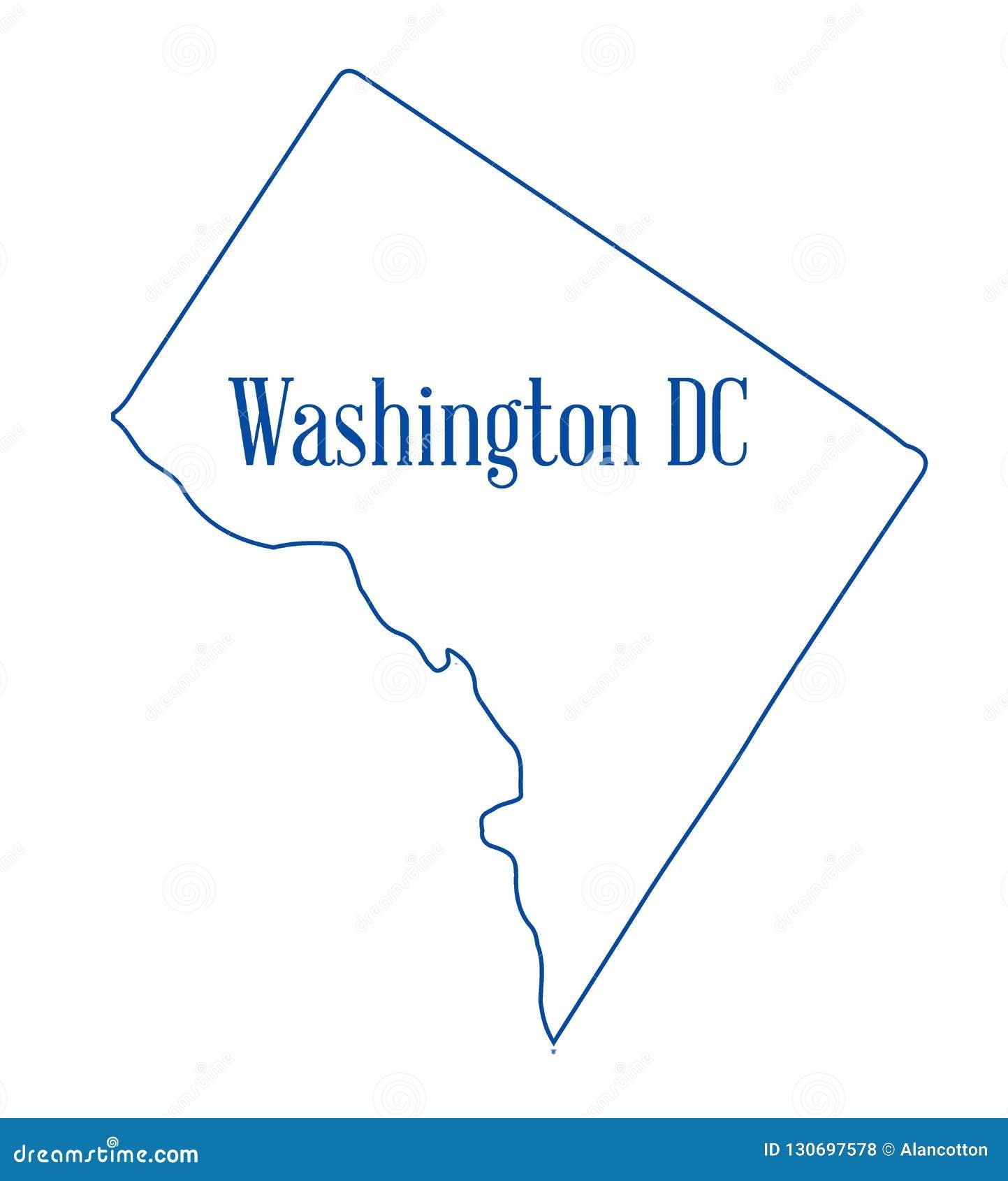 Washington DC konturu mapa