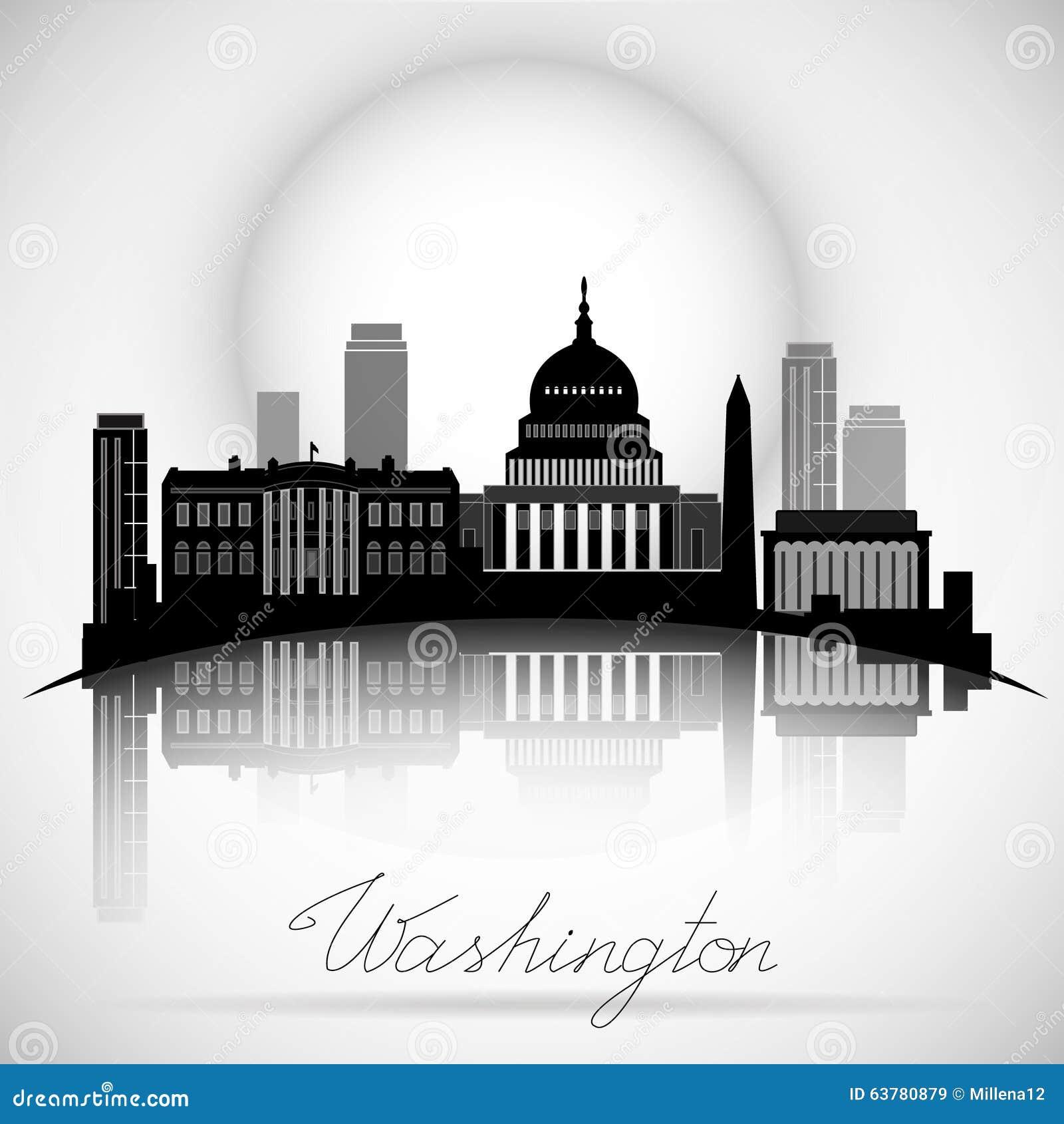 Washington DC linii horyzontu projekt atrakcyjna pudełkowata sylwetki obsiadania wektoru kobieta