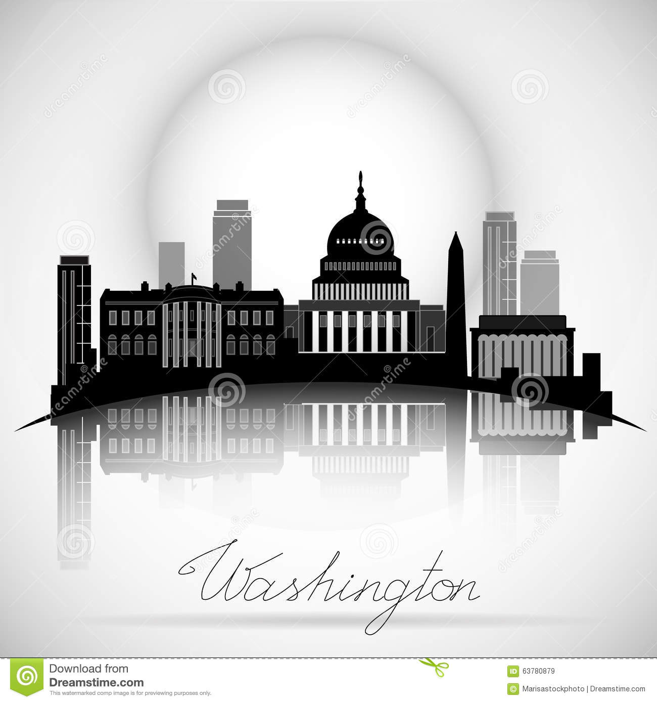 Washington dc skyline design vector silhouette stock vector image 63780879 for Who designed the basic plan for washington dc