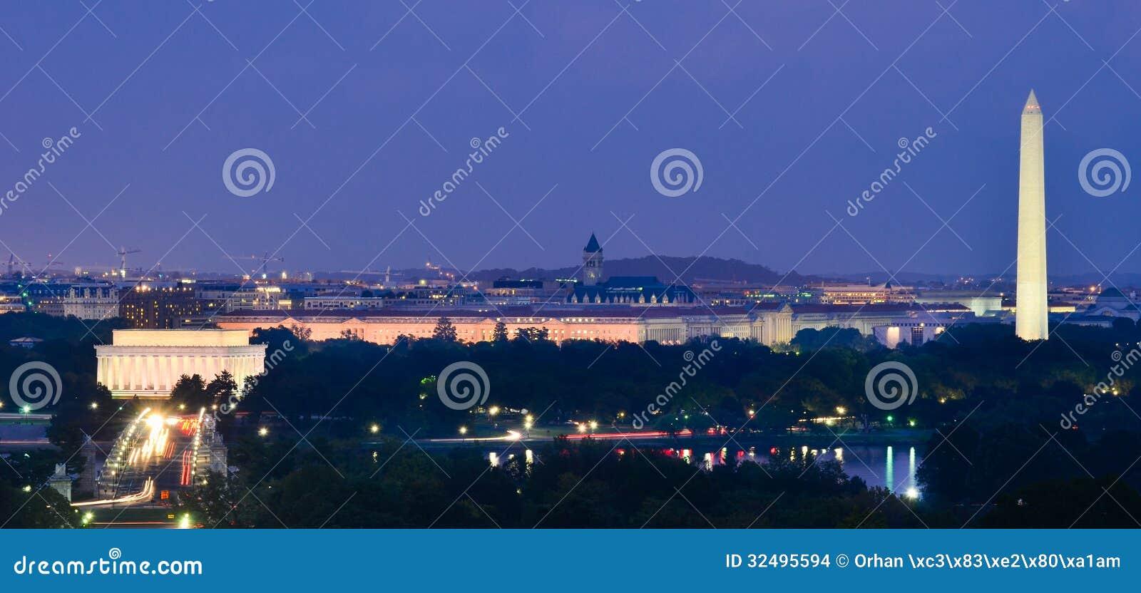 Washington DC skyline at night, including Lincoln Memorial, Washington Monument and Arlington Memorial Bridge
