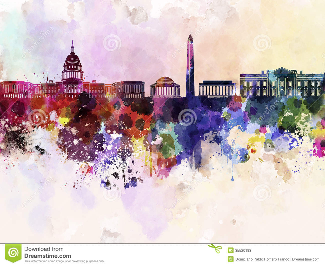 Washington DC Skyline In Watercolor Background Stock Photos - Image ...