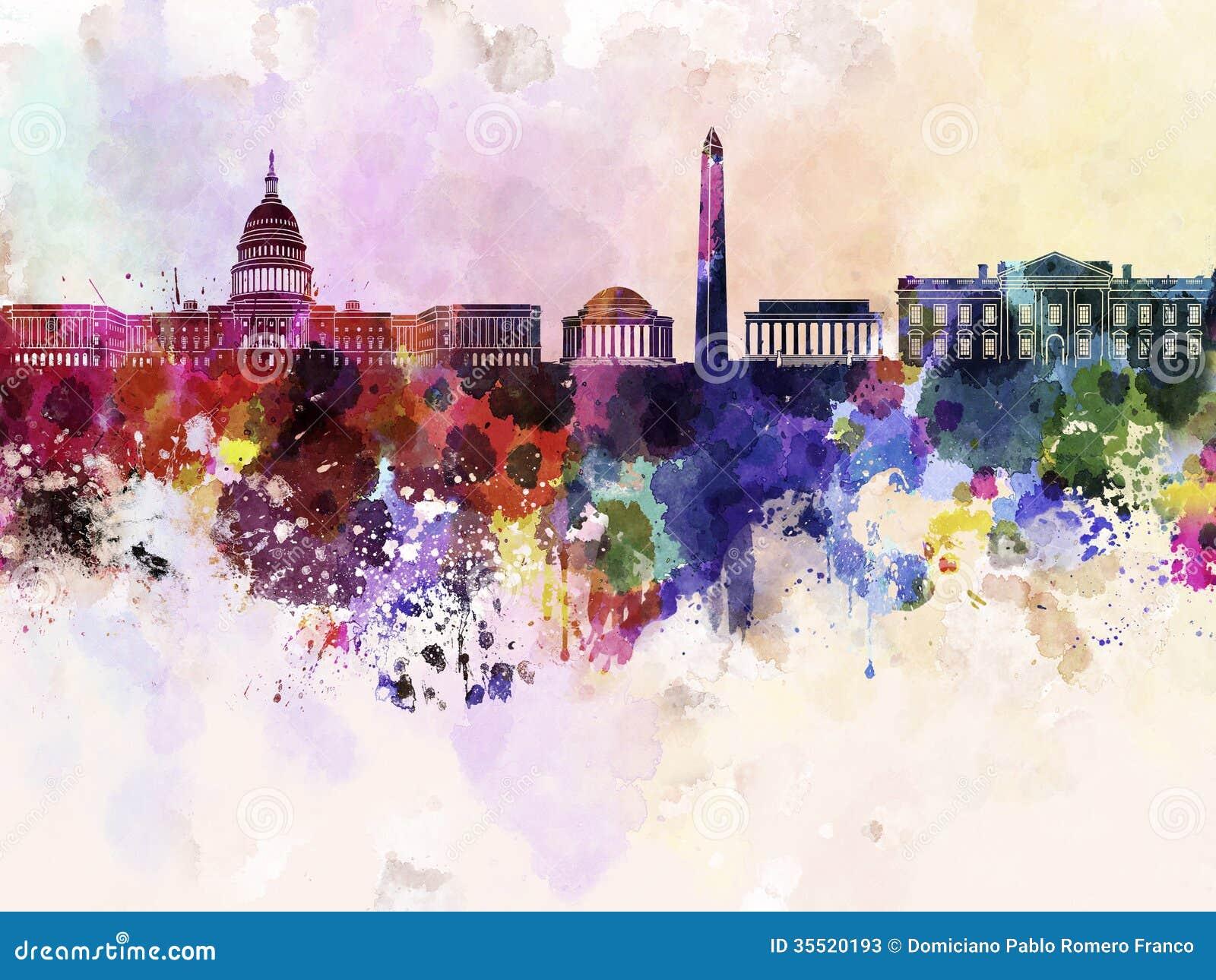 Washington Dc Skyline In Watercolor Background Stock