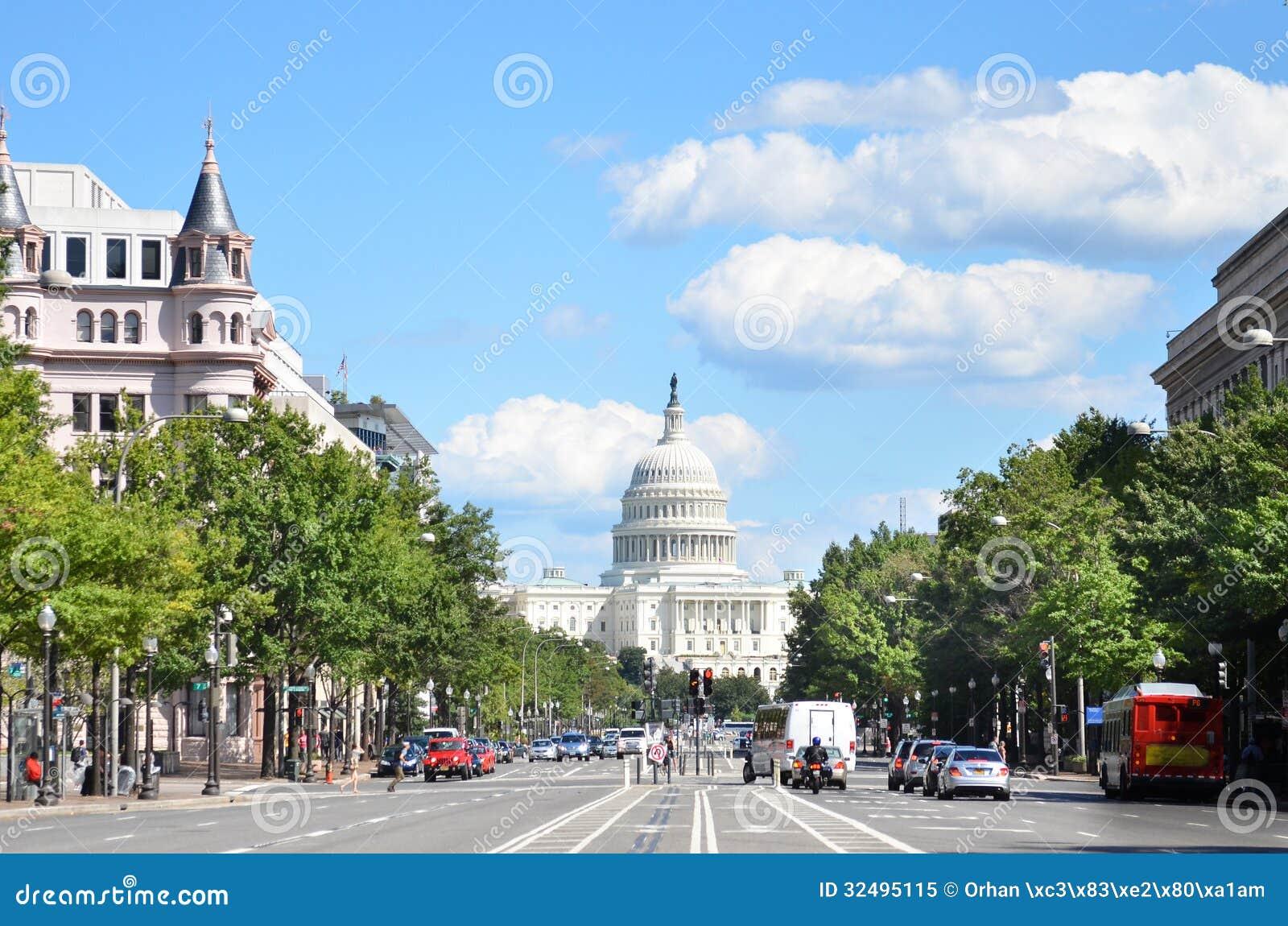 Washington DC, Stany Zjednoczone Capitol budynek. Widok od od Pennsylwania alei