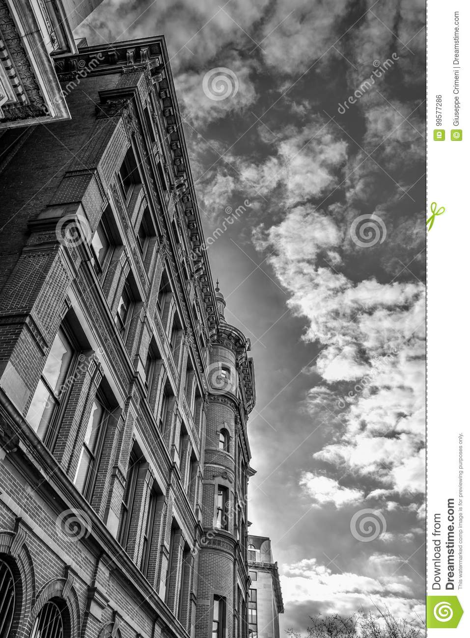 Washington DC, USA. Historic SunTrust building with the clock tower. Black and white version of the shot.