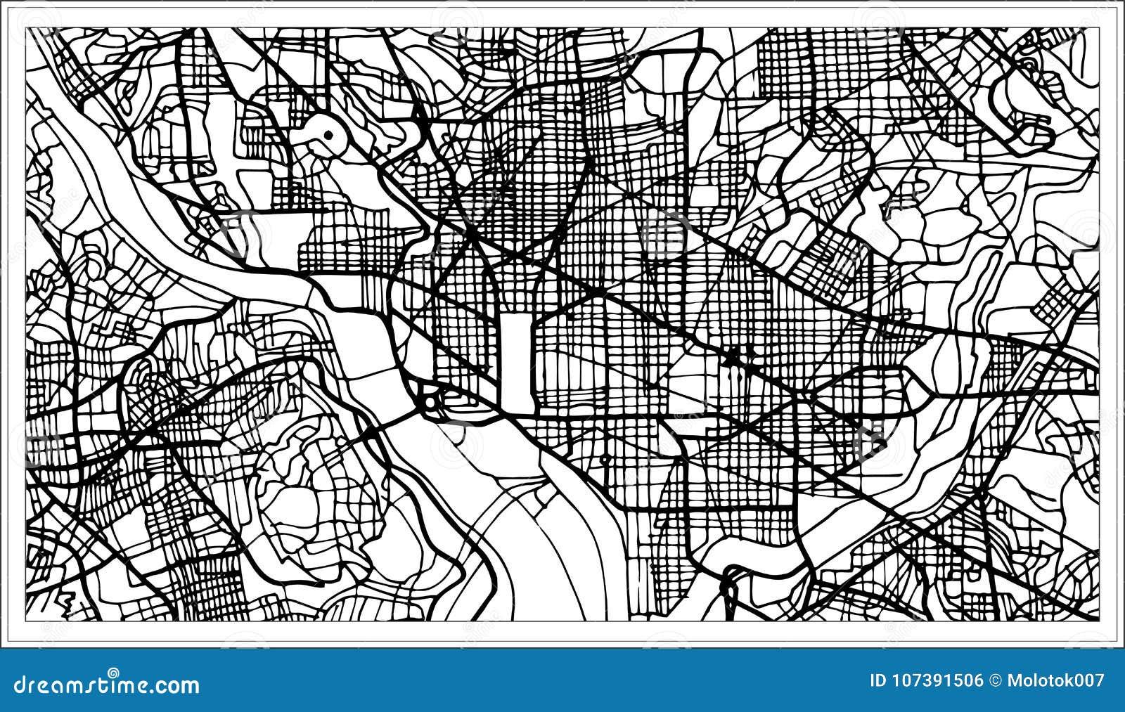 Amerika Karte Schwarz Weiß.Washington Dc Usa Karte In Der Schwarzweiss Farbe Vektor Abbildung