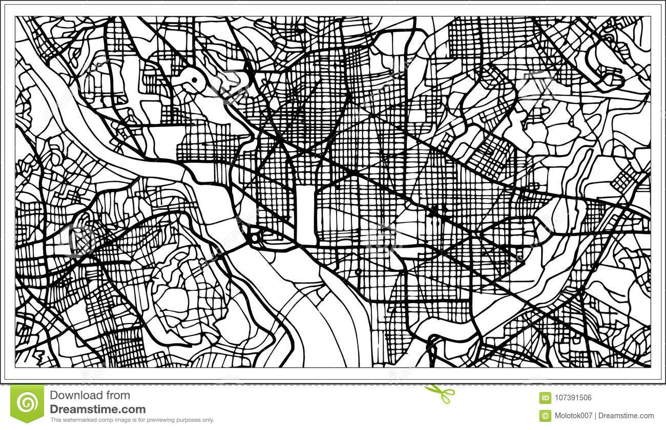 Washington Dc Map Download.Washington Dc Usa Map In Black And White Color Stock Vector
