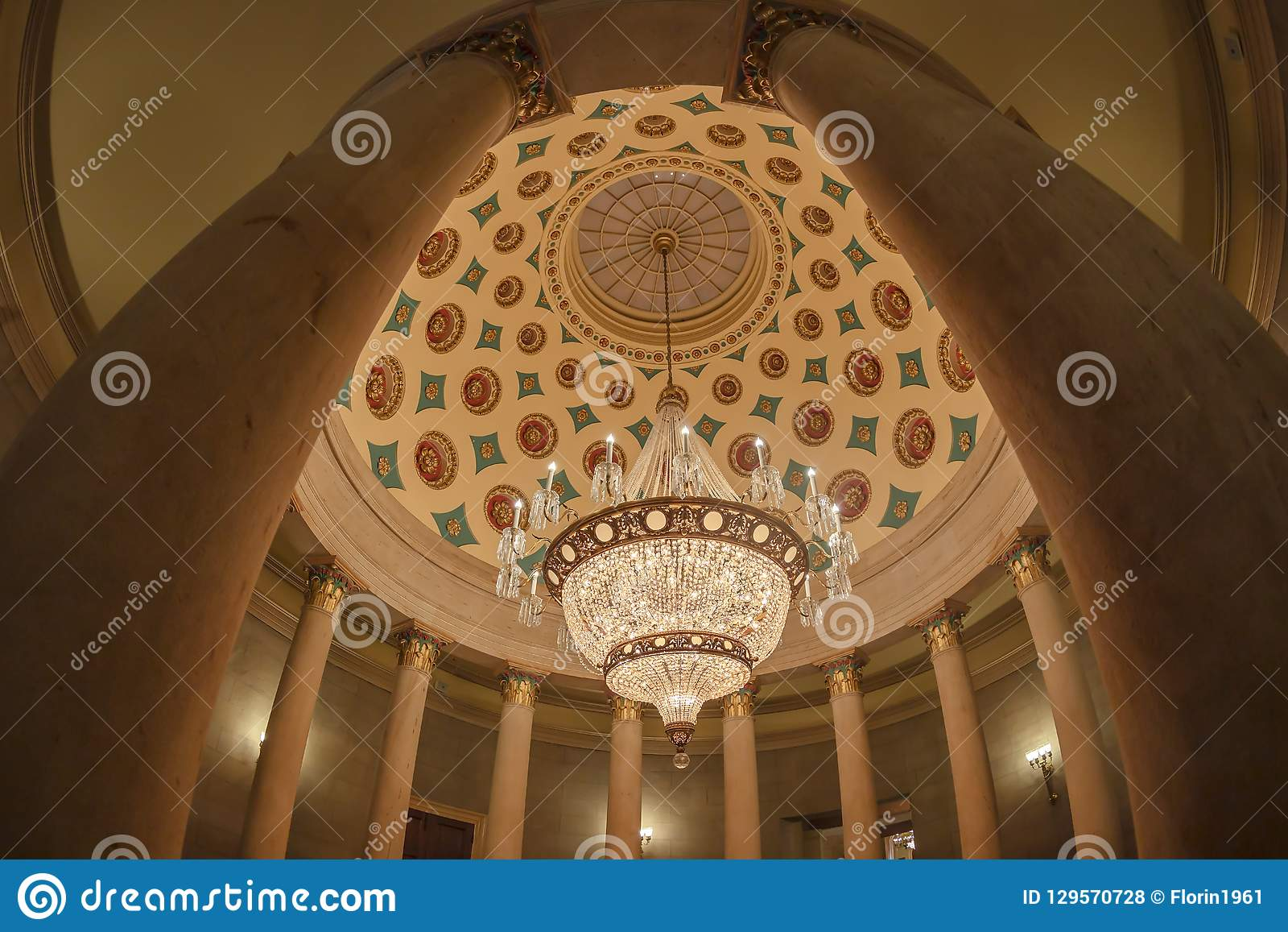 Colonade And Chandelier In The Interior Of The Us Capitol Building Washington Dc Editorial Stock Photo Image Of Government Historic 129570728