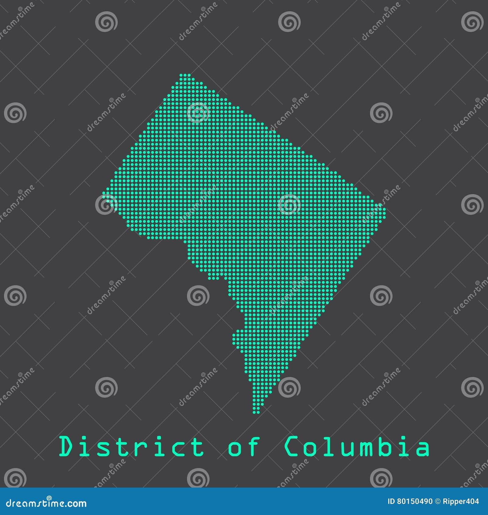 Washington District d abrégé sur Colombie pointille la carte d état Style pointillé