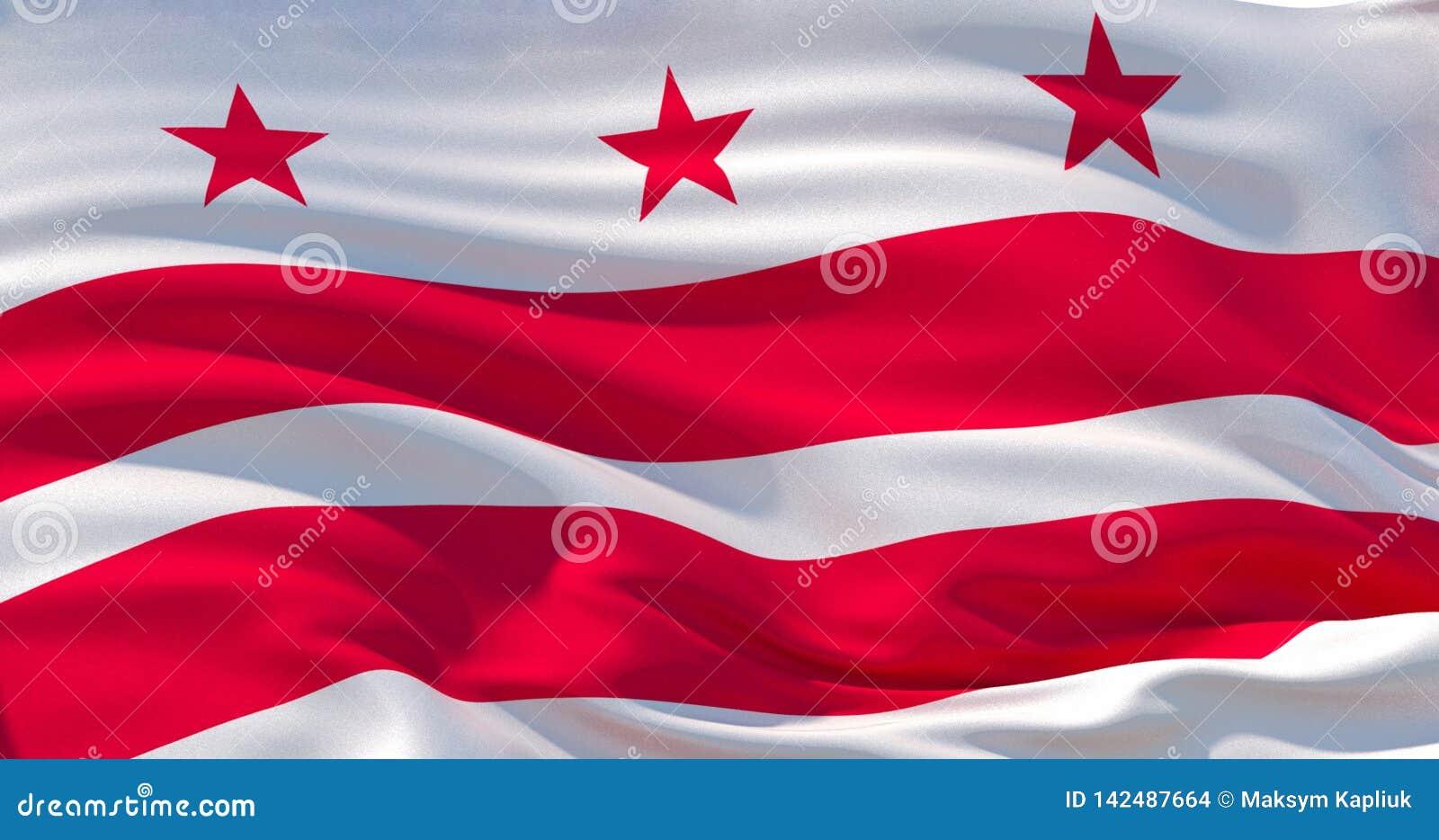 Washington, District van de vlag van Colombia Patriottische Achtergrond 3D Illustratie