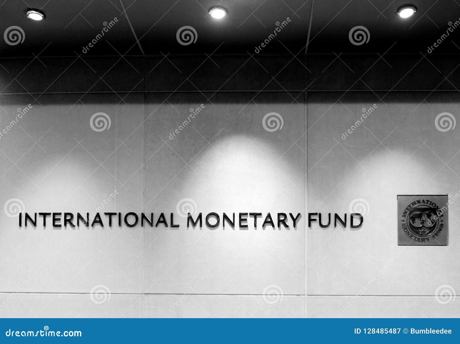 Washington, gelijkstroom - 04 Juni, 2018: Embleem van Internationale Monetair