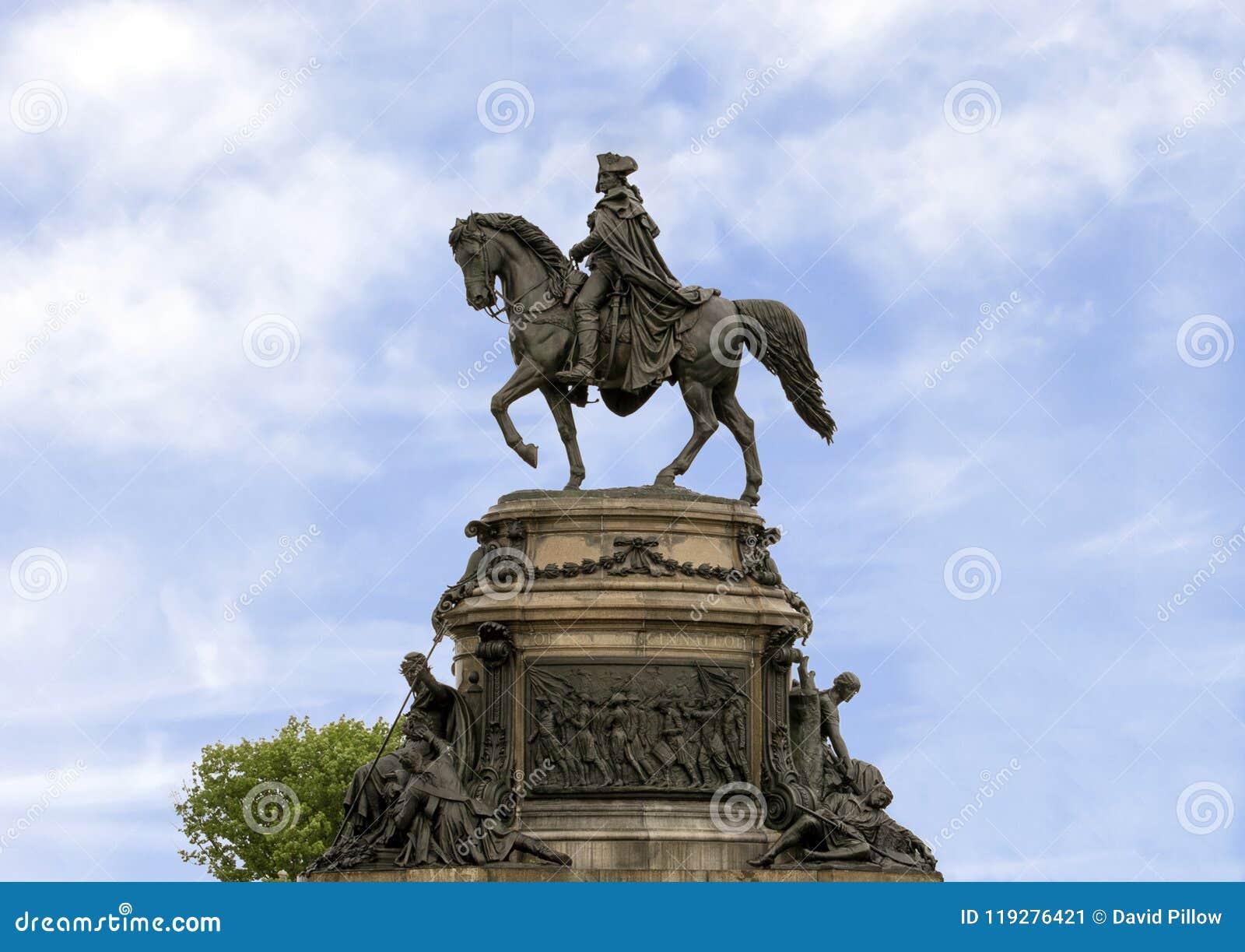Washington Monument av Rudolf Siemering, Benjamin Franklin Parkway på den Eakins ovalen, Philadelphia, Pennsylvania