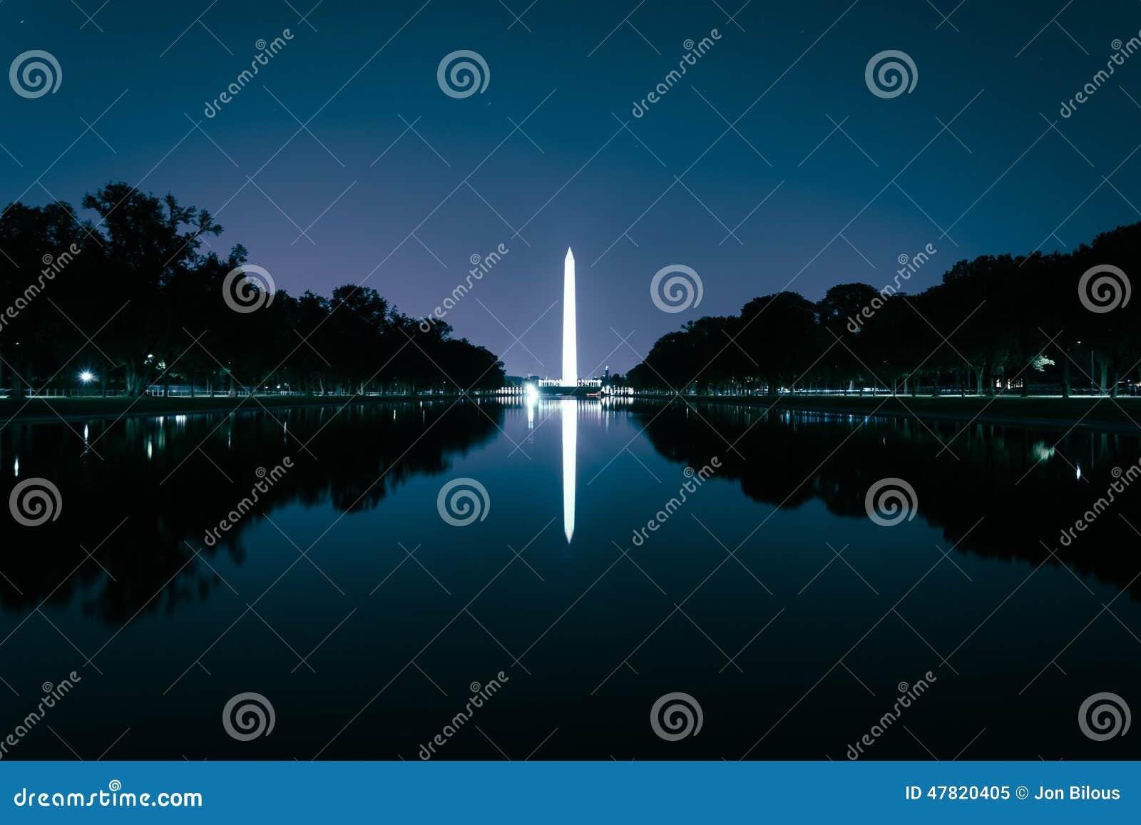 Washington Monument che riflette nello stagno di riflessione al nig
