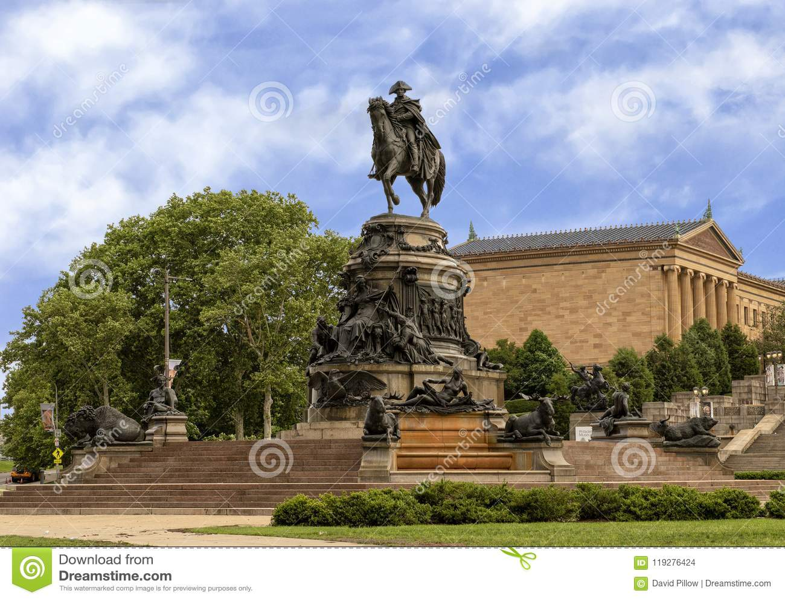 Washington Monument de Rudolf Siemering, Benjamin Franklin Parkway en el óvalo de Eakins, Philadelphia, Pennsylvania