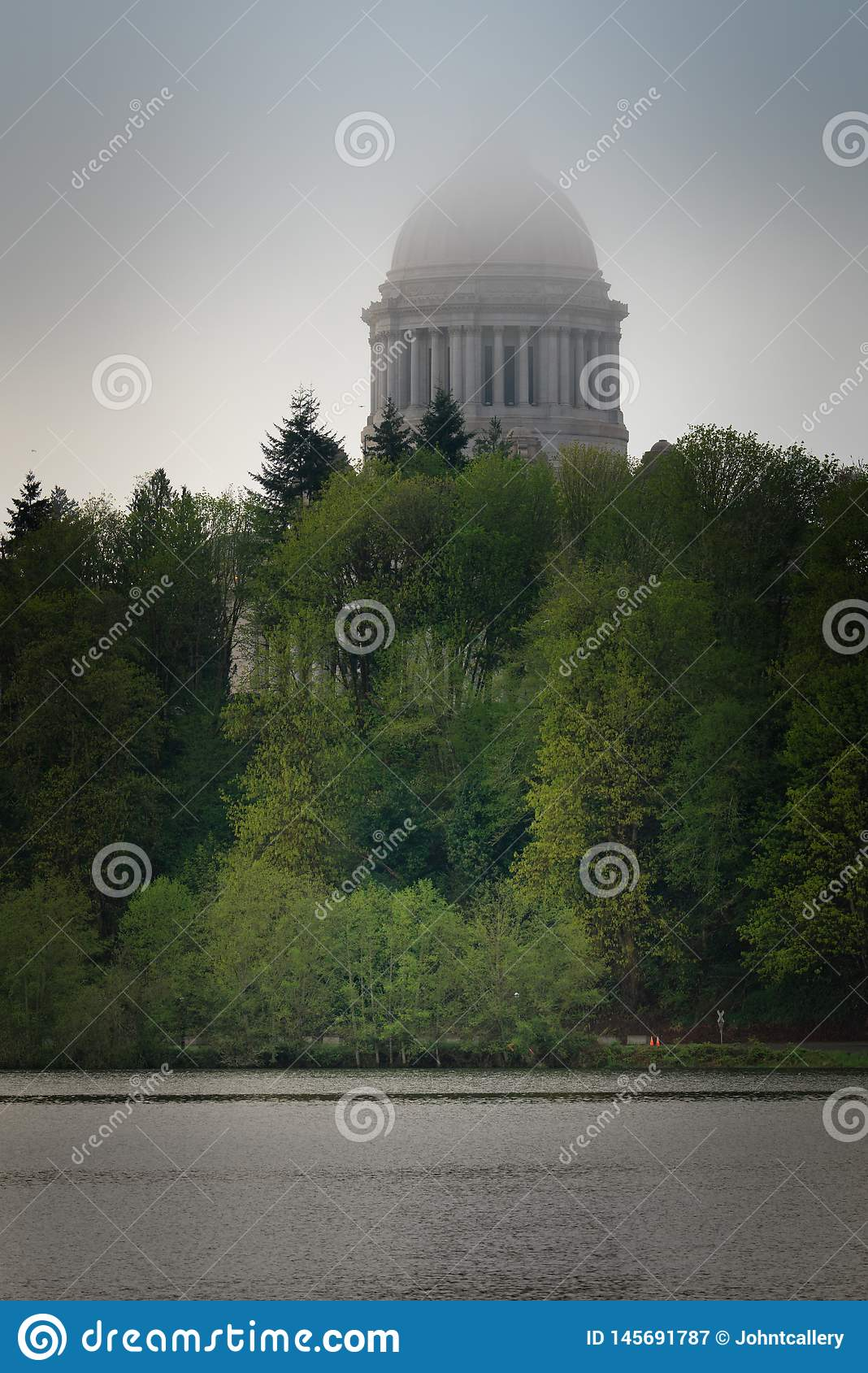 Washington State Capitol Building In Fog Stock Image ...