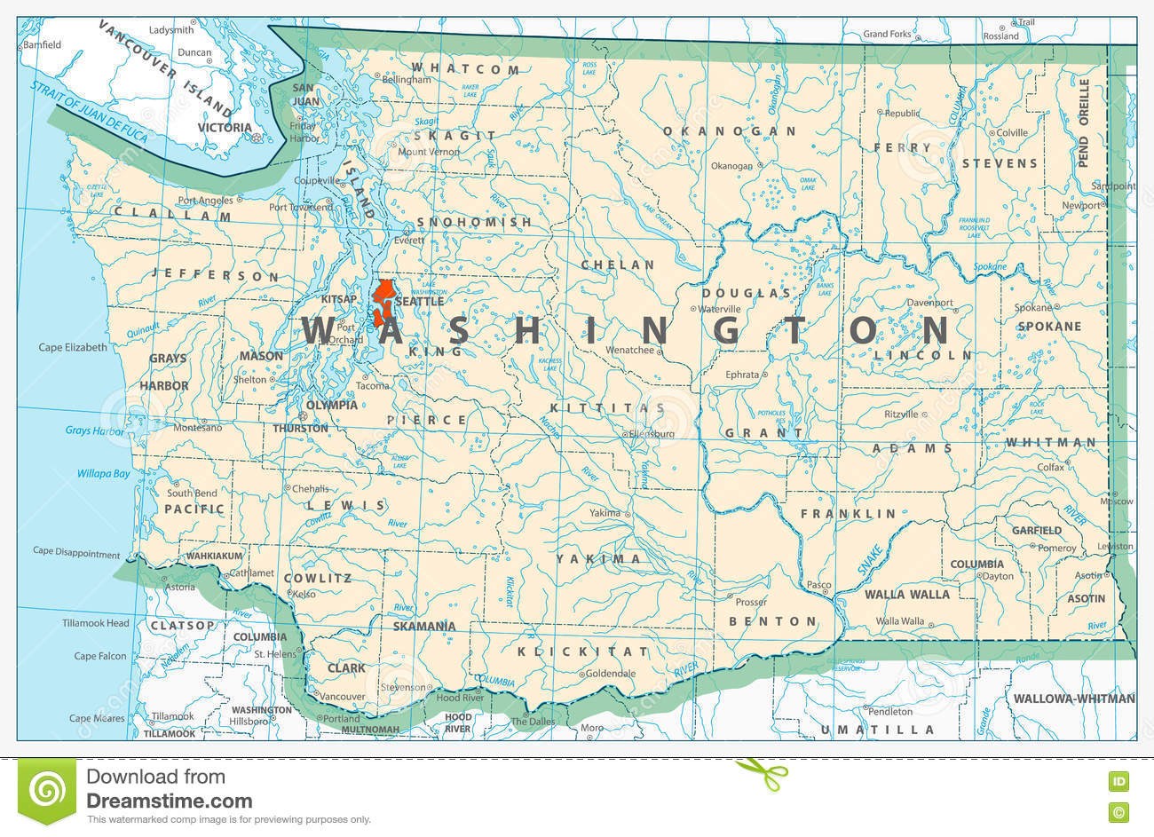 Washington State Detailed Map Stock Vector Image - Map of washington state