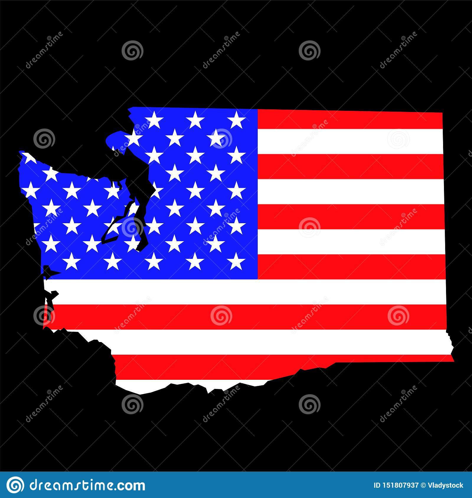 Picture of: Washington State Map With American National Flag Stock Vector Illustration Of Background Travel 151807937