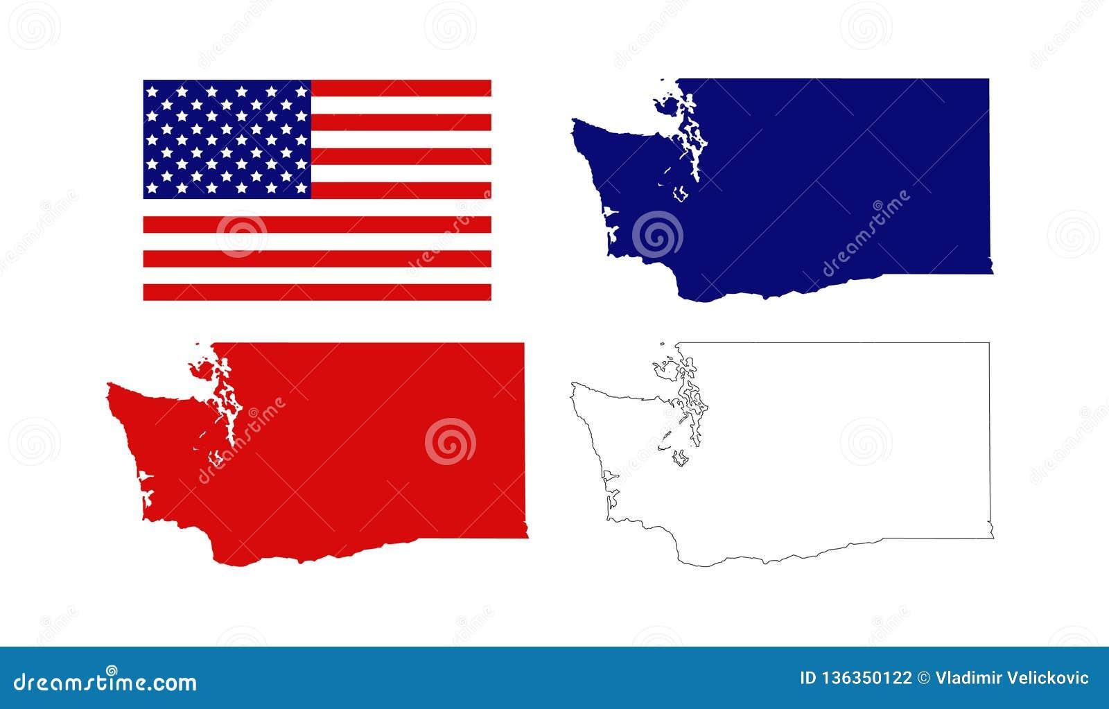Washington State Maps With USA Flag - State Of Washington ...