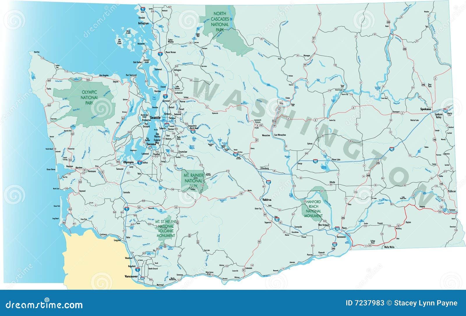 Washington State Road Map Stock Photos  Image 7237983