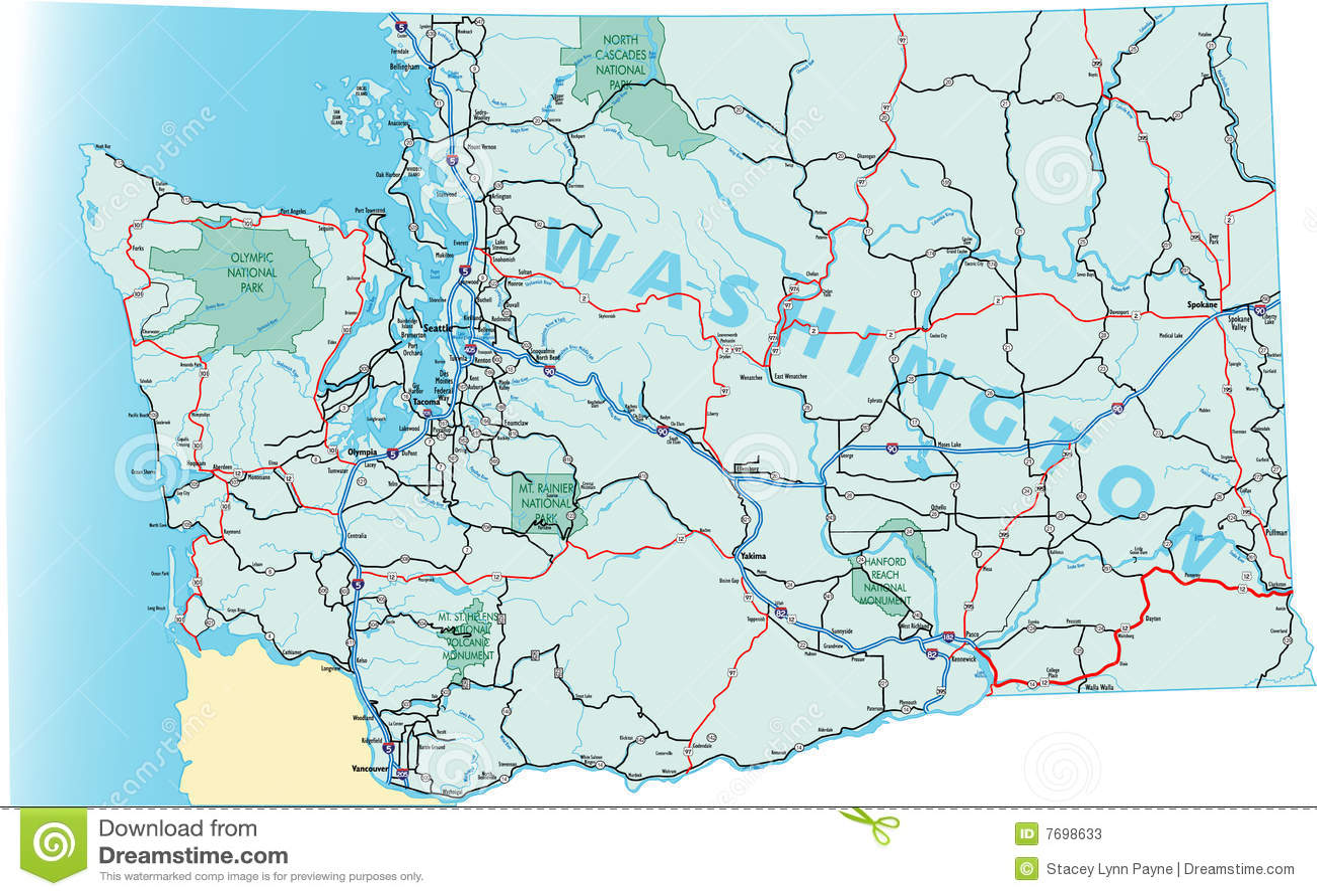Washington State Road Map Stock Photos  Image 7698633