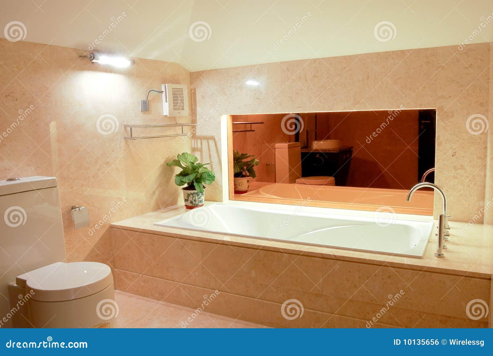 Washroom with big bathtub stock photo. Image of hotel - 10135656