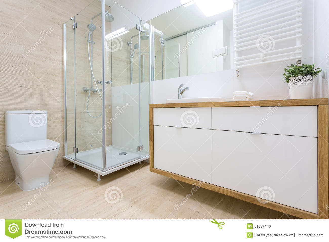 Washroom Interior In Traditional Design Stock Photo