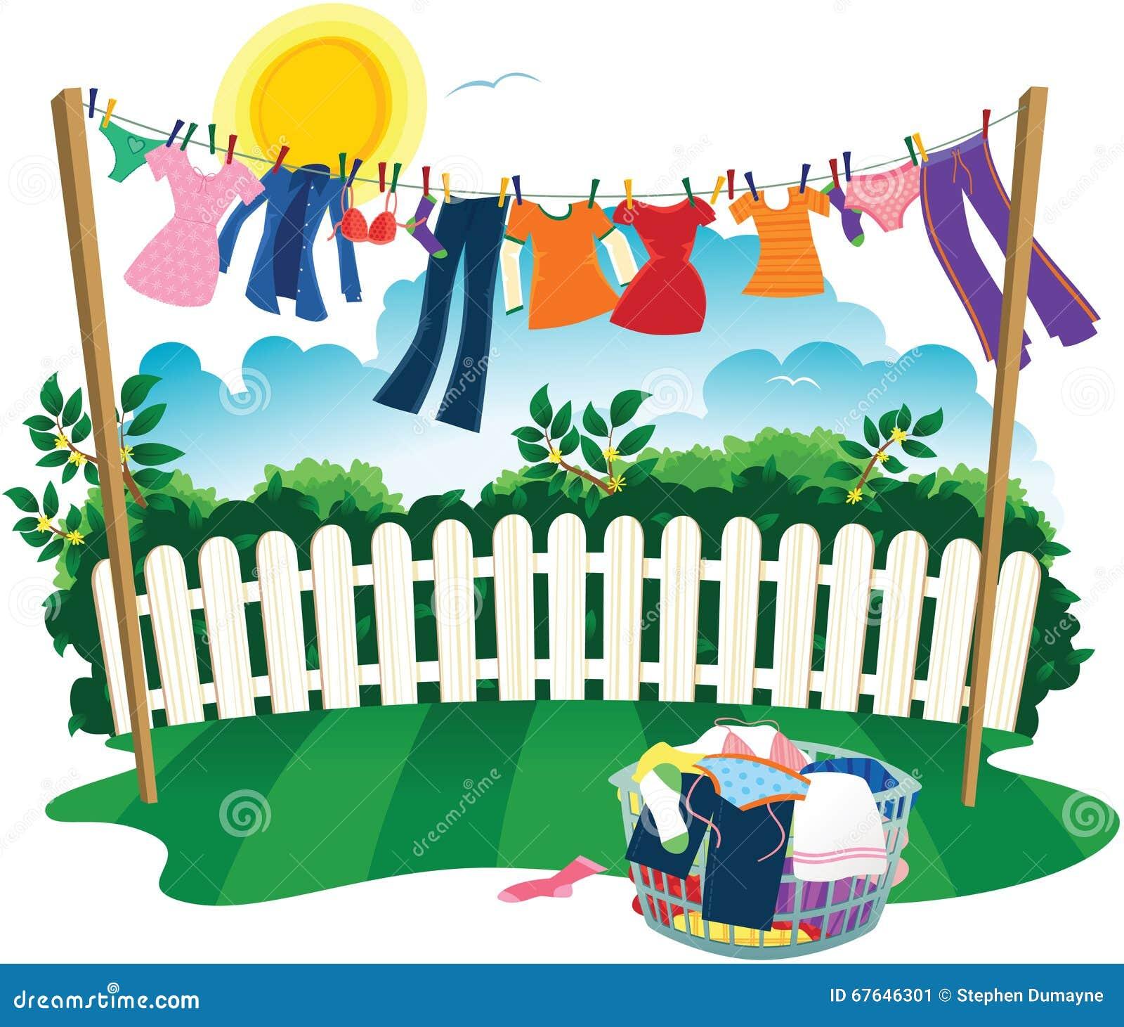 Waslijn en kleren