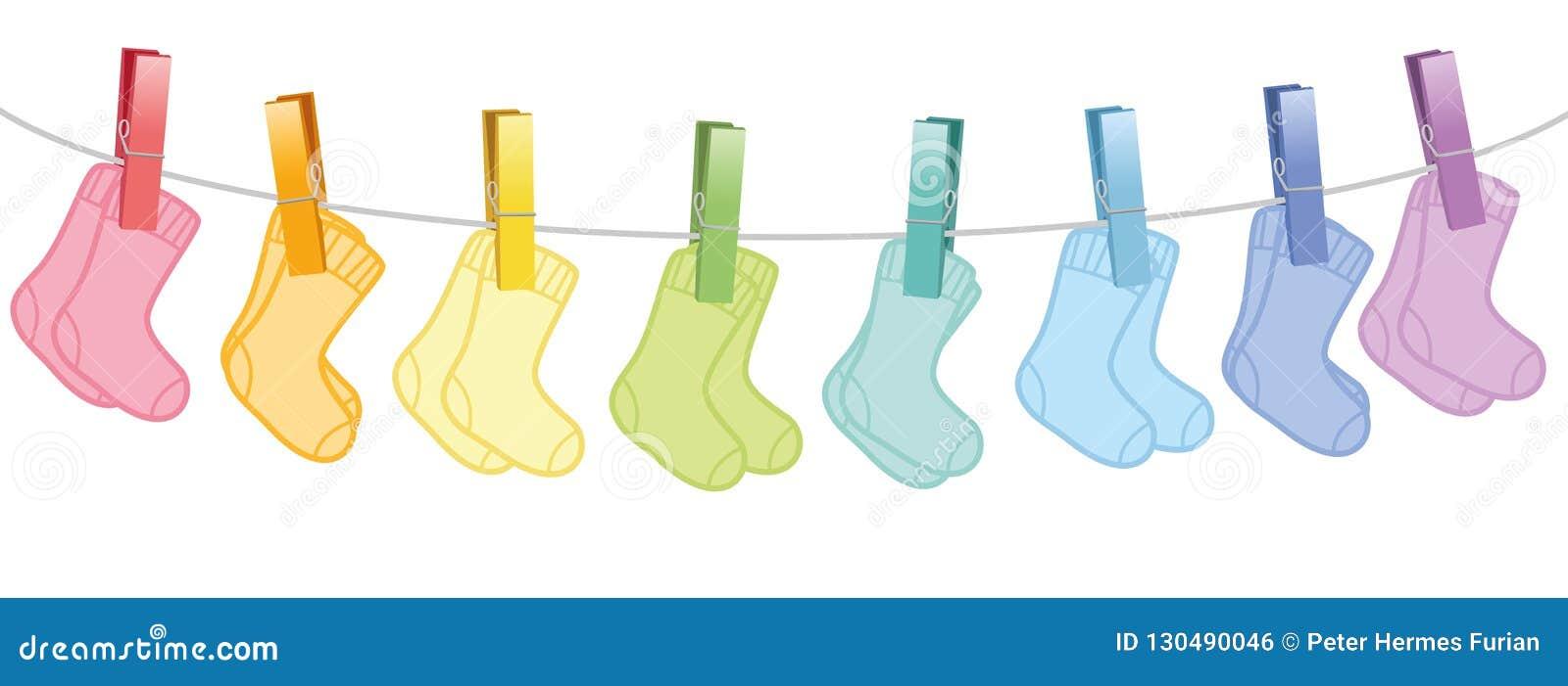 waslijn baby de sokken gekleurde paren vector