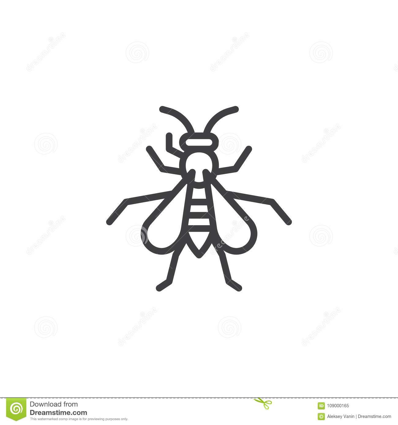 wasp insect line icon stock vector illustration of editable 109000165