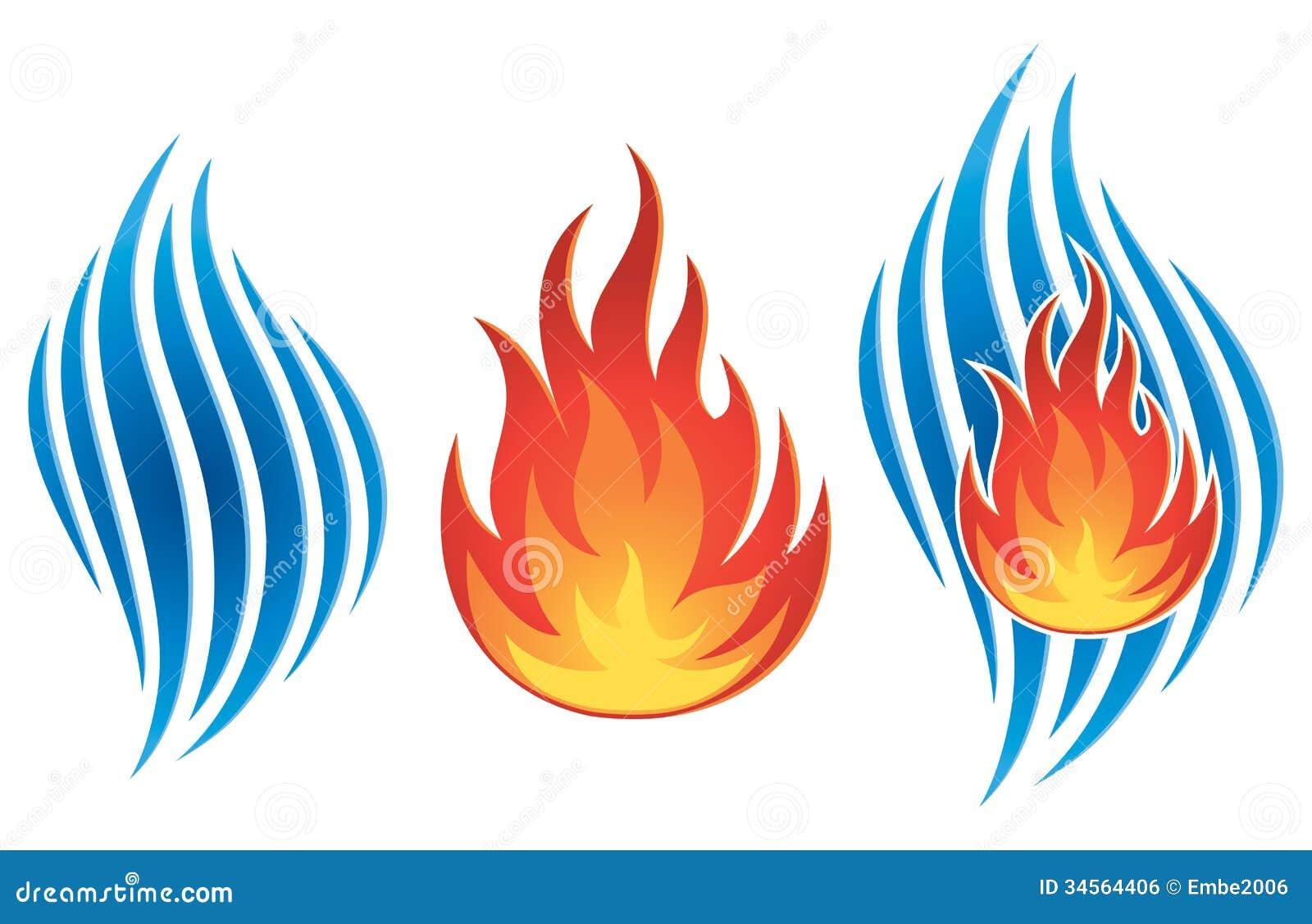 Wasser Feuer Logo Vektor Abbildung Illustration Von Bild 34564406