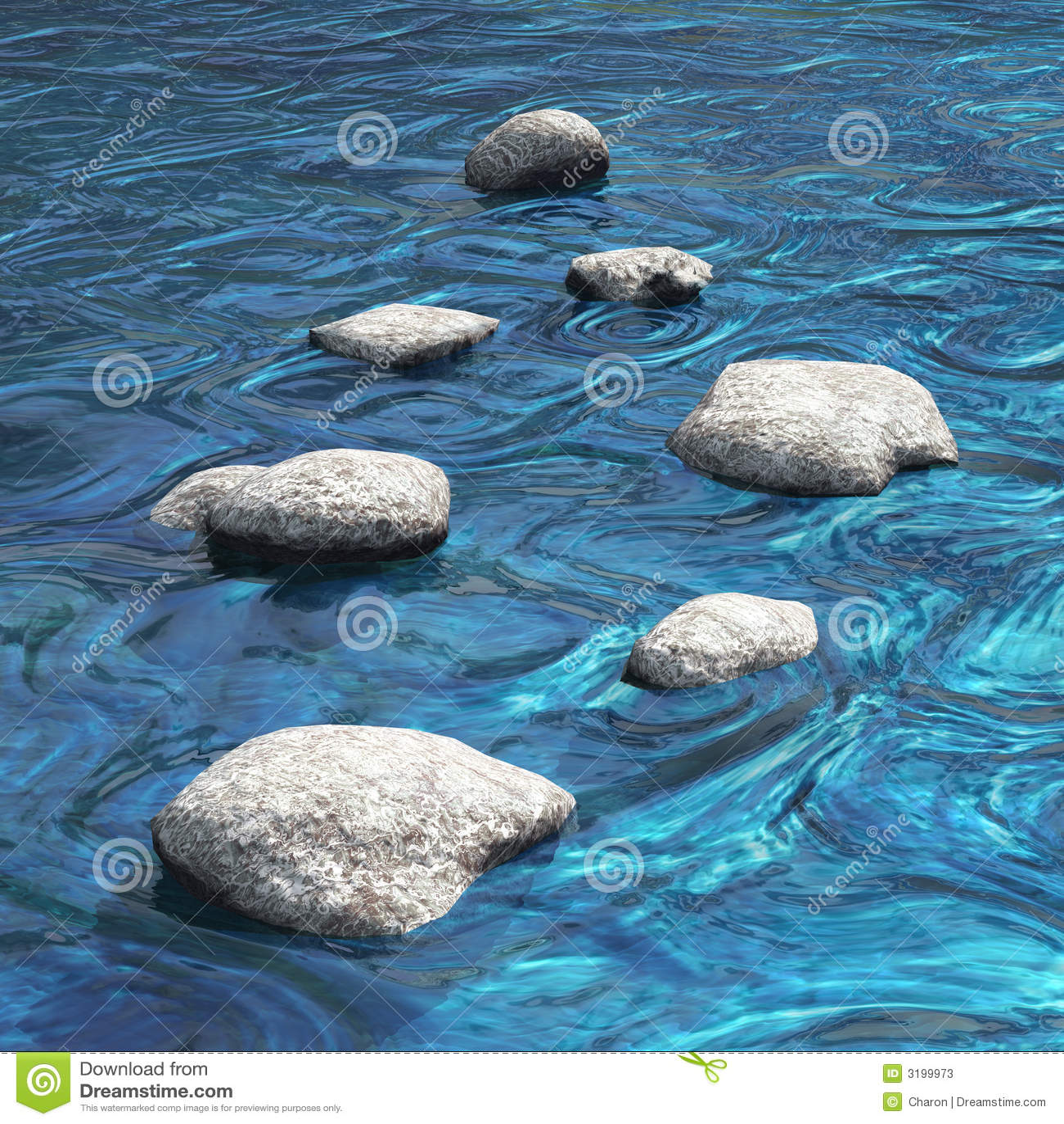 Wasser mit sieben Steinen