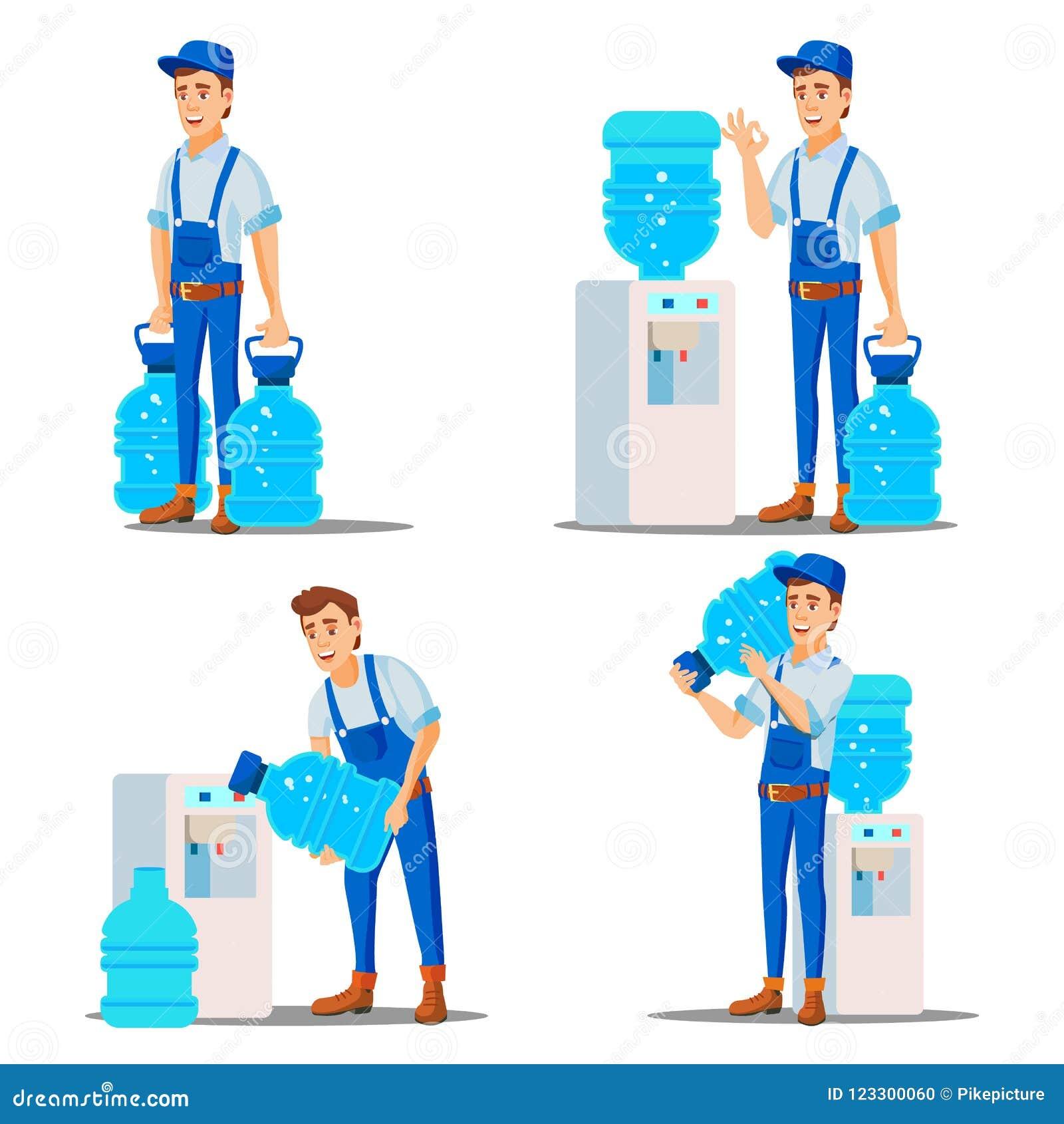 Wasser-Zustelldienst-Mann-gesetzter Vektor behandlung Büro-Getränk in den Plastikflaschen Wasserspender-Miete Versorgung, versend