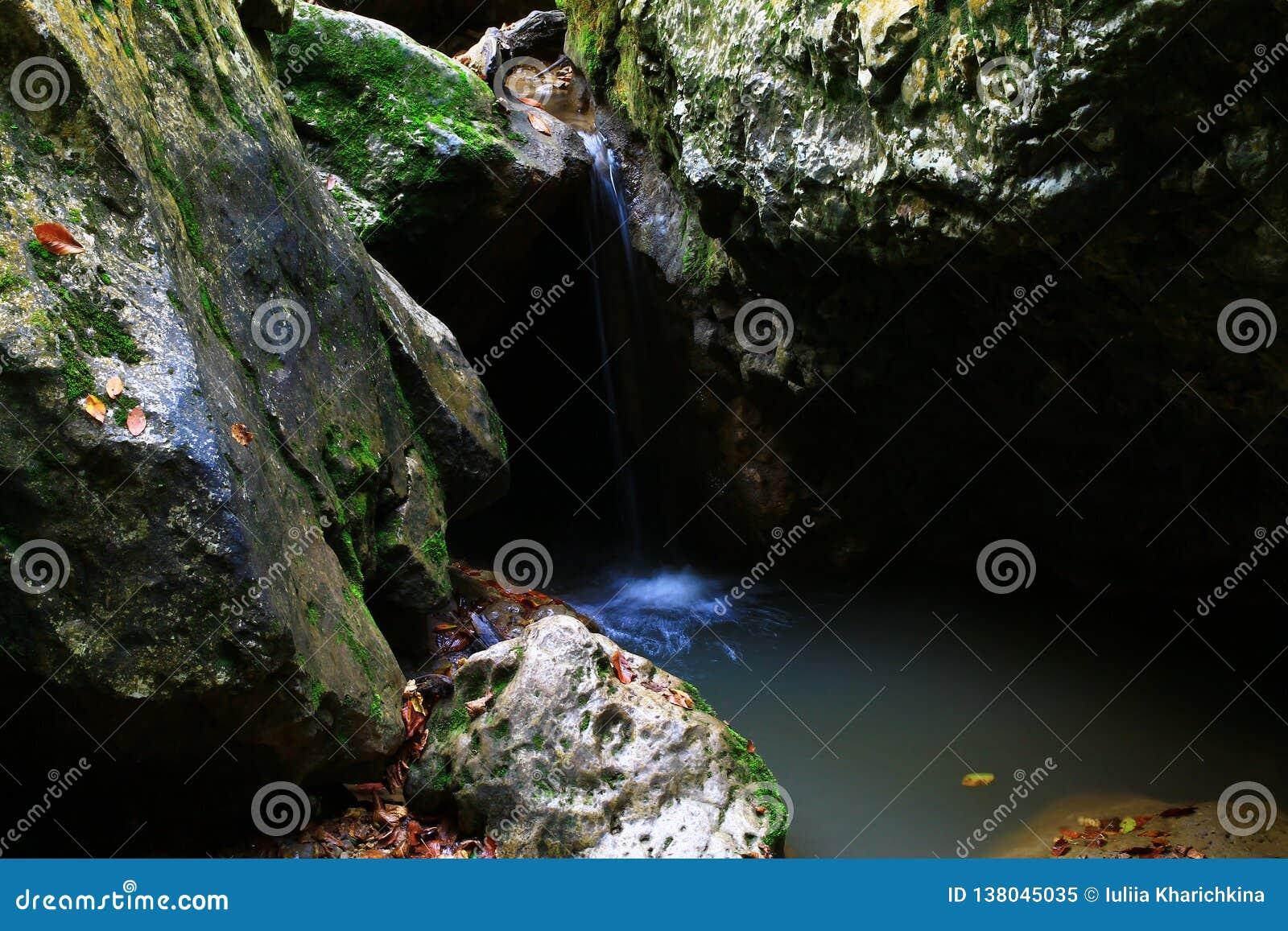 Wasserfall in der Waldherbstansicht