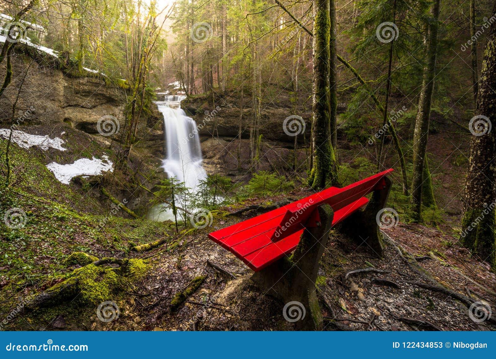 Wasserfall in Gebirgsfluss im Frühjahr