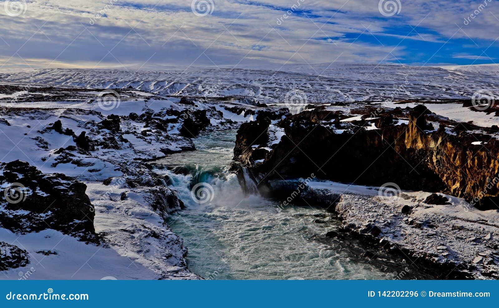 Wasserfall in Island, Bild der Natur