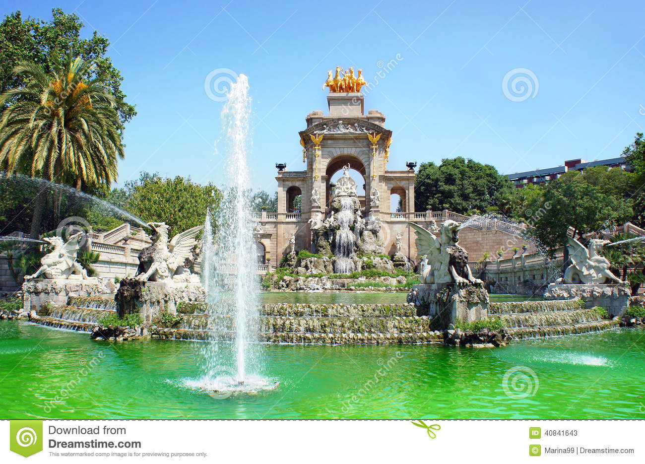 wasserfall und brunnen von parc de la ciutadella barcelona stockbild bild von niemand. Black Bedroom Furniture Sets. Home Design Ideas