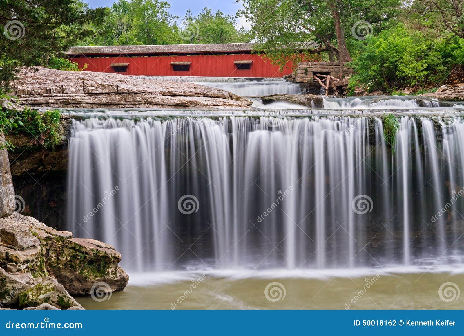 Wasserfall und rote überdachte Brücke