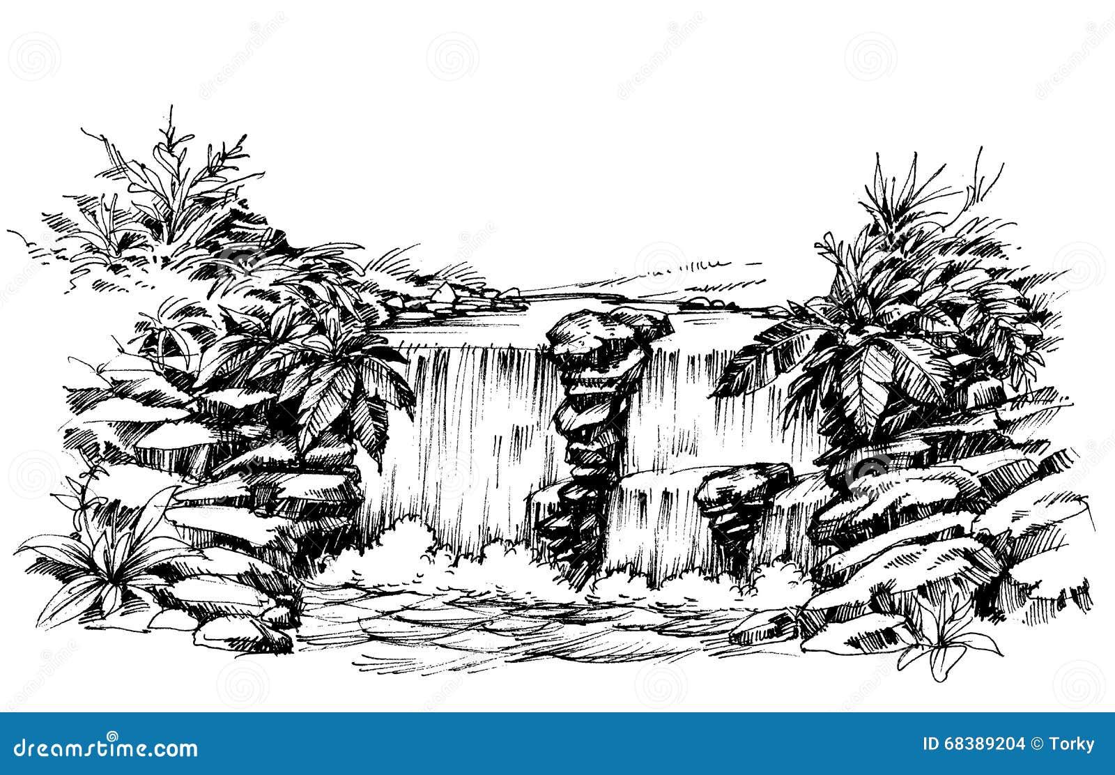 Wasserfallzeichnung