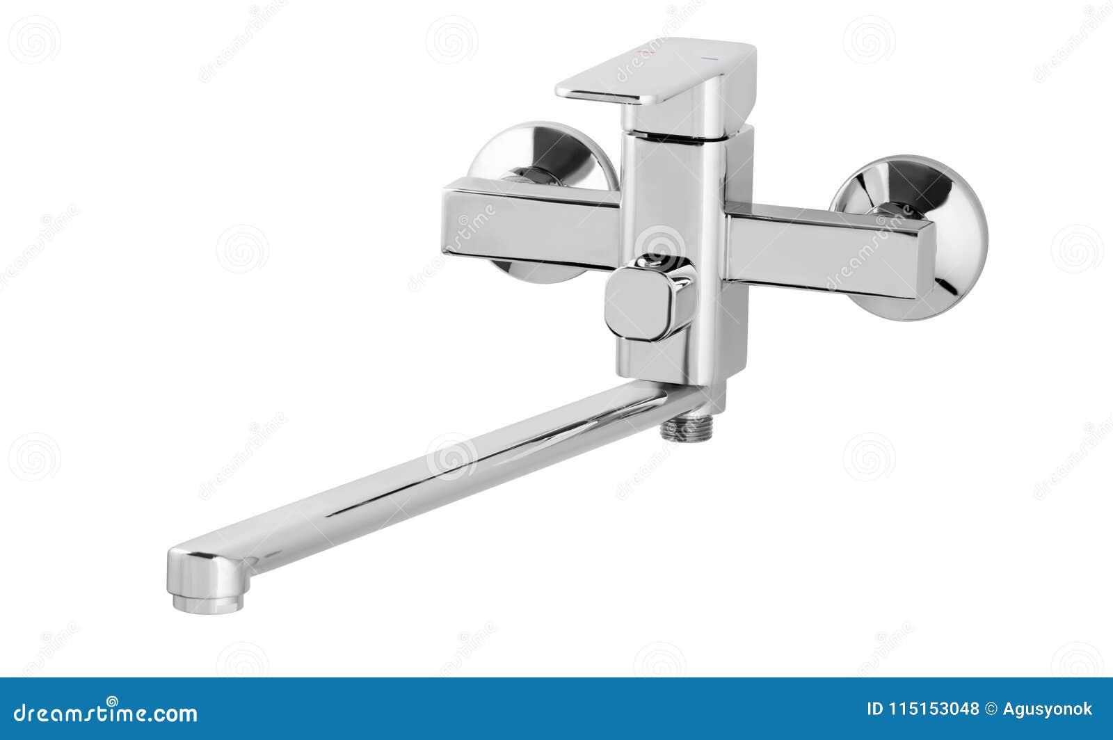 Wasserhahn, Hahn für das Badezimmer, kalt-warmwasser des Küchenmischers Chrome überzog Metall Getrennt auf einem weißen Hintergru