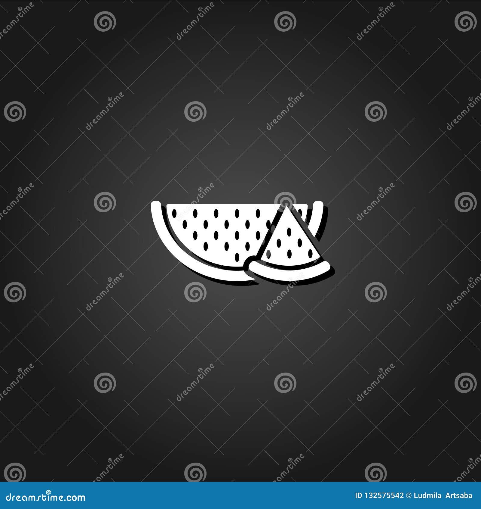 Wassermelonenikone flach
