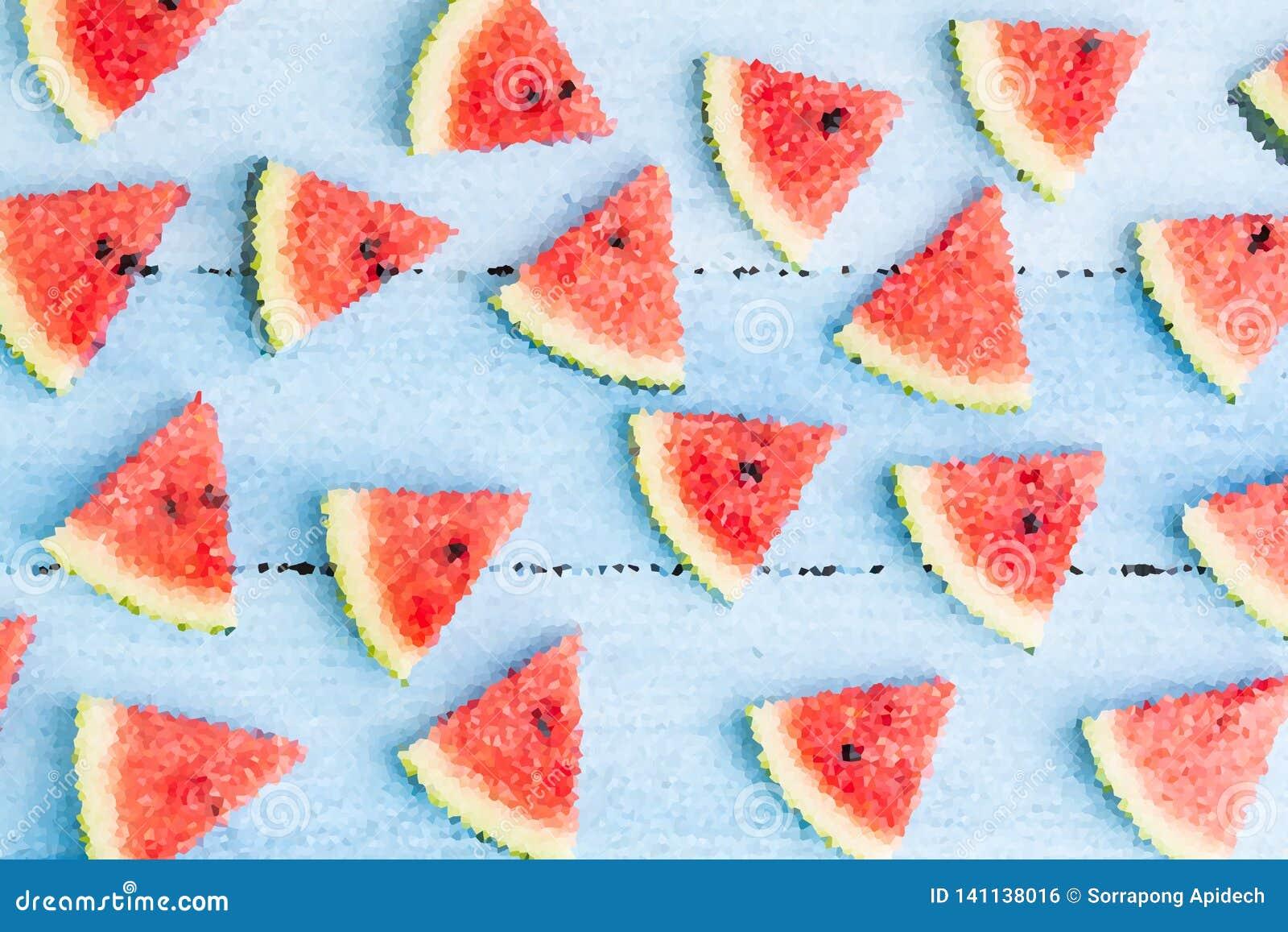 Wassermelonenmosaik-Wandhintergrund, Illustrationskunst-Entwurfshintergrund, abstrakter Hintergrund für Sommer