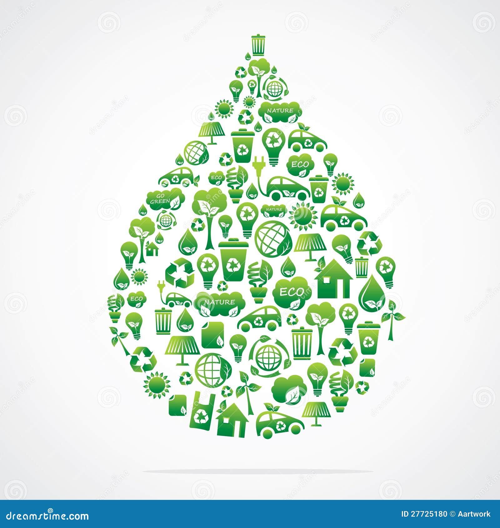 Wassertropfen ist Auslegung mit eco Naturikonen