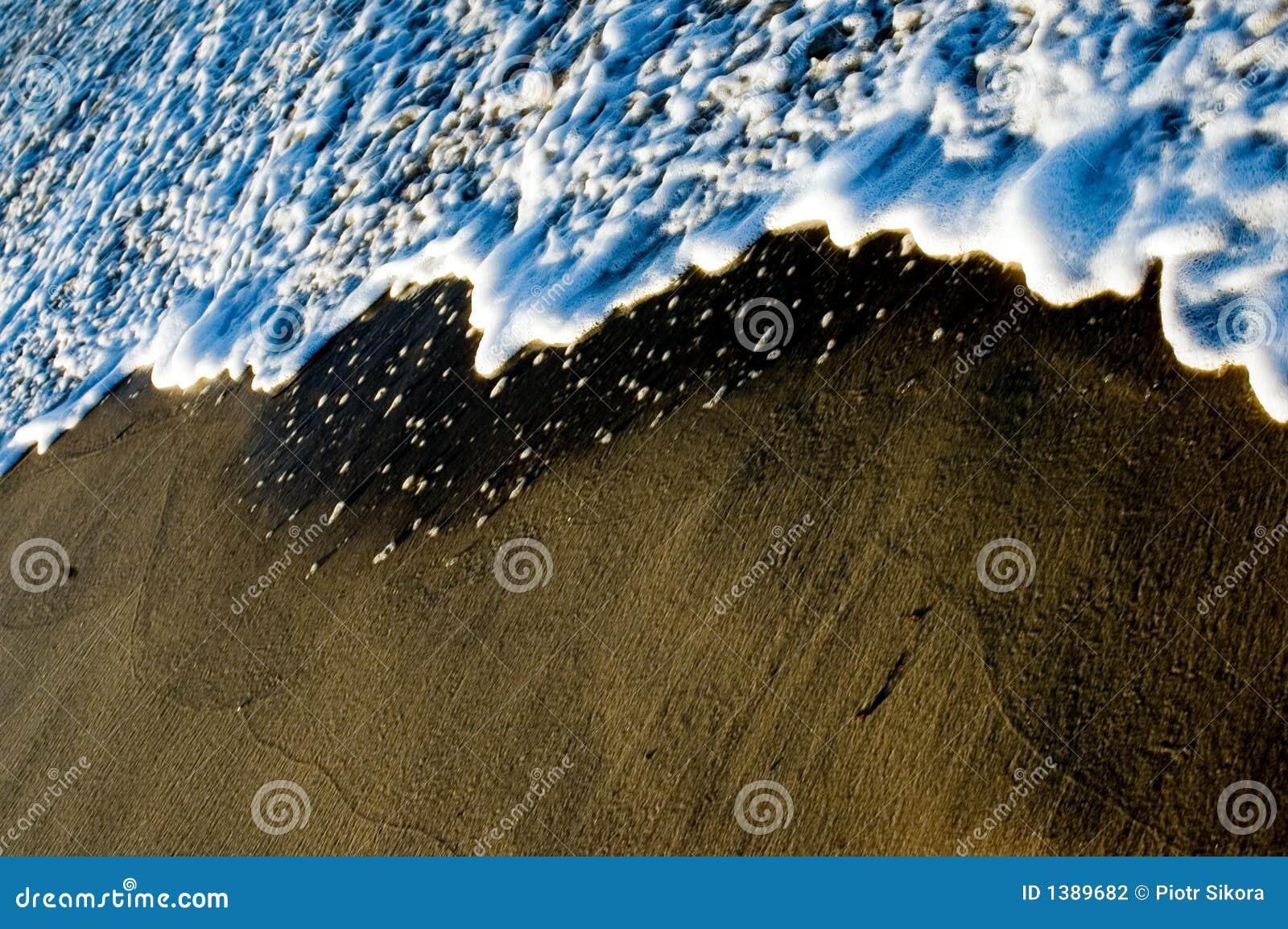 Wasserwelle Spume auf dem Strand
