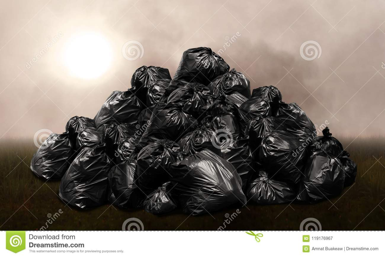 Waste bags plastic heap, mountain waste garbage bags plastic black many hill, pollution from waste garbage, background pollution