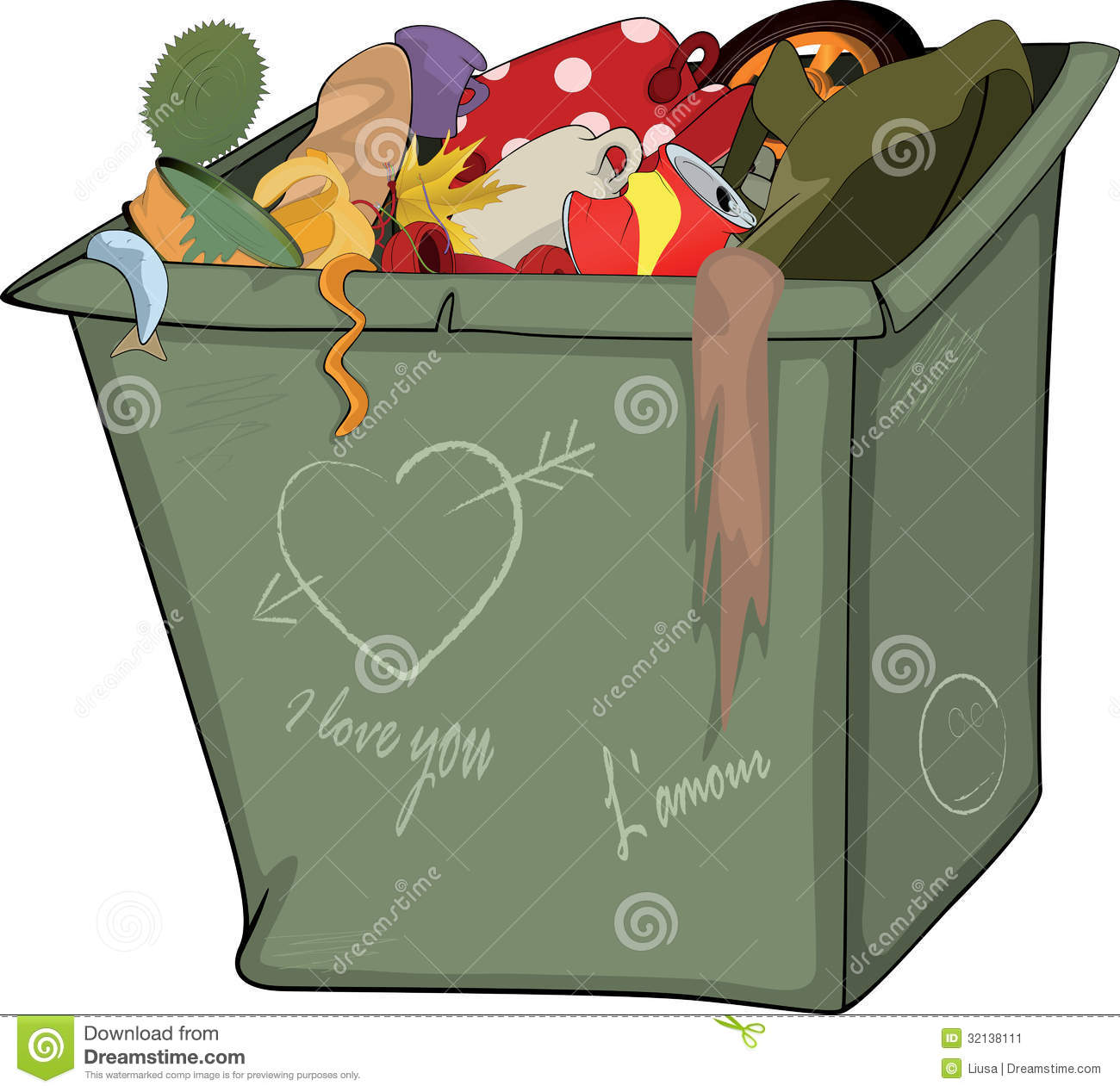 Waste Container. Cartoon Stock Image - Image: 32138111
