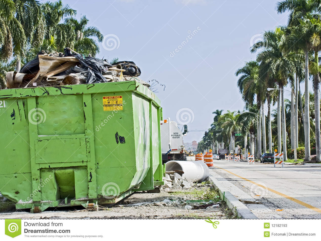 Waste container at a public construction site stock image for Construction container