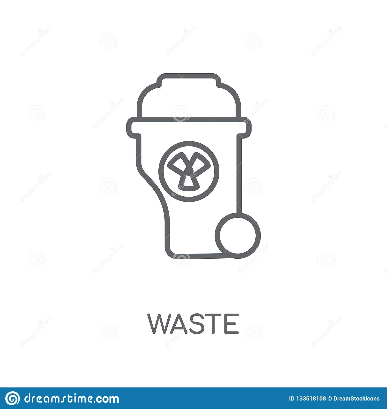 Waste Linear Icon  Modern Outline Waste Logo Concept On White Ba