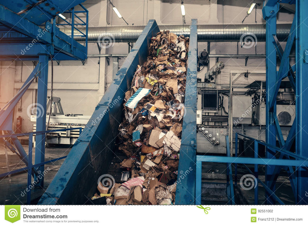 Waste processing plant. Technological process. Recycling and storage of waste for further disposal. Business for sorting
