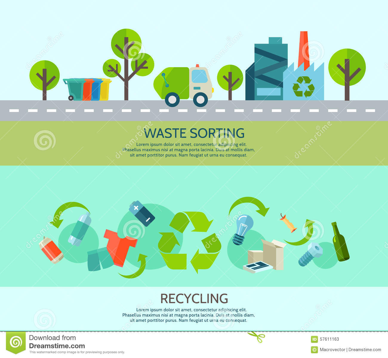 Waste sorting banners set stock vector image 57611163 for Waste material items