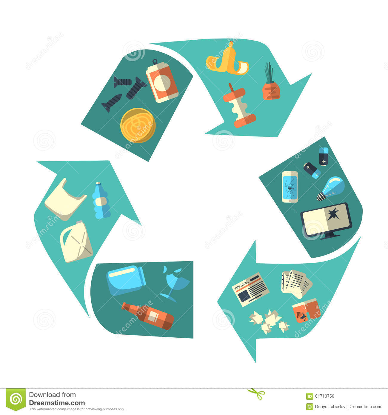 Waste Sorting And Recycling Isolated Symbol Editorial